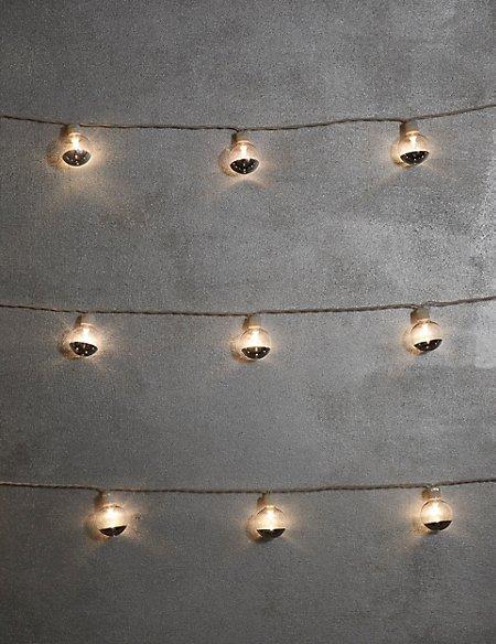 20 White & Silver Festoon Battery Lights