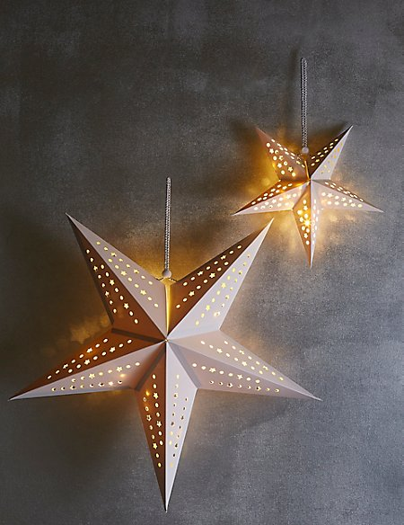 Set of 2 Decorative Paper Star Lights