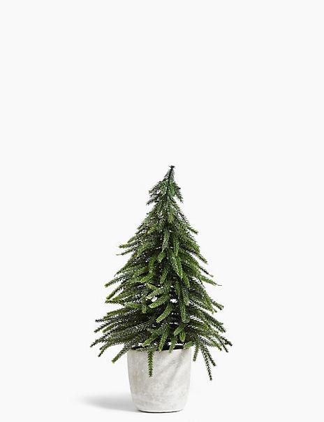 Glitter Green Fir Tree in Pot