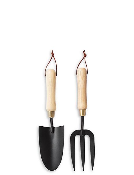 Wooden Handle Trowel Fork Set