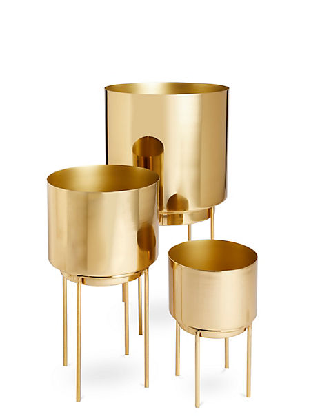 Gold Finish Metal Planter with Legs