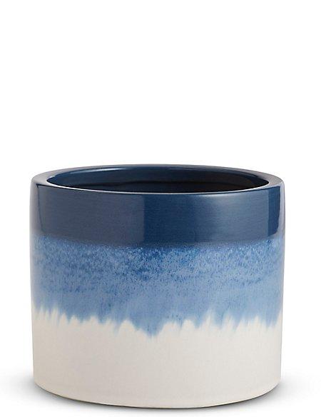18cm Indigo Blue Reactive Glaze Planter