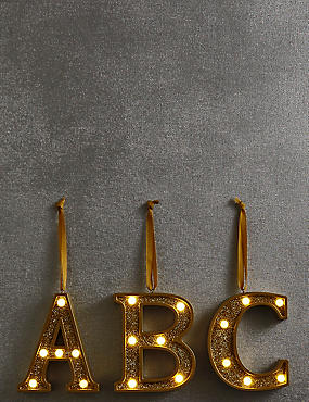 A-Z Light-up LED Gold Alphabet Baubles