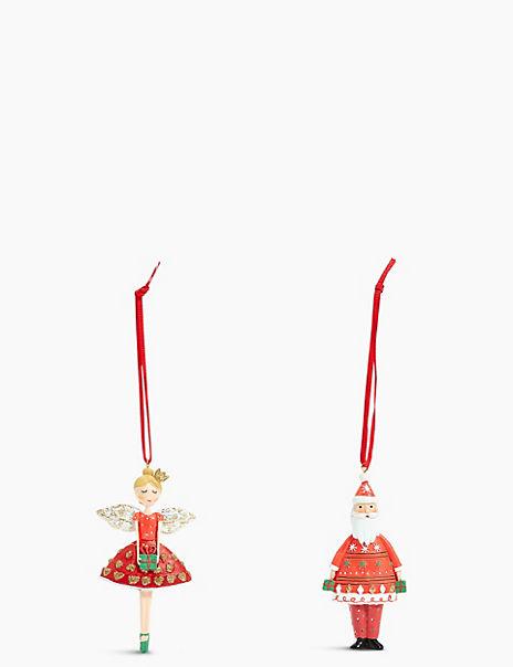 2 Pack Fairy & Santa Decorations