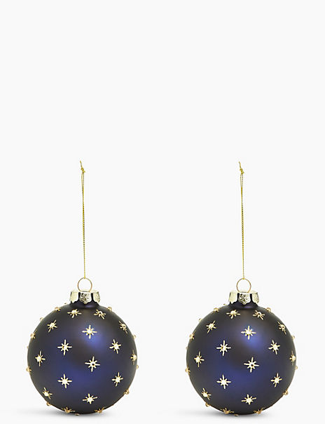 2 Pack Matte Star Baubles
