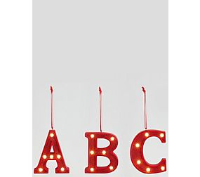 Red Hanging Lit Alphabet