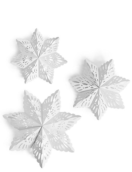 Set of 3 Hanging Paper Snowflakes