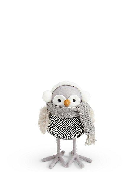 Grey Robin with Earmuffs