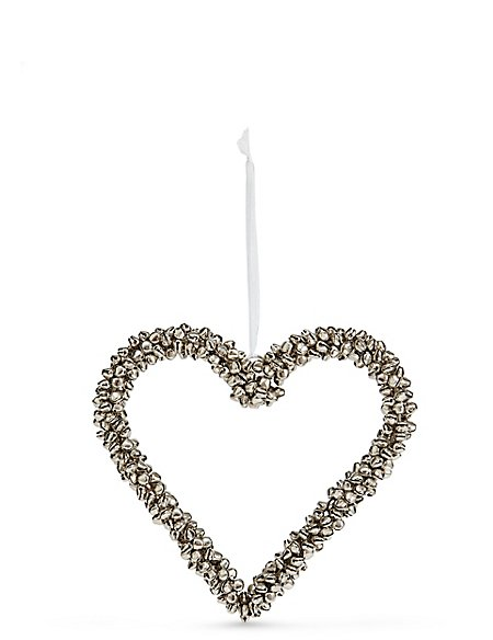 Hanging Silver Bell Heart