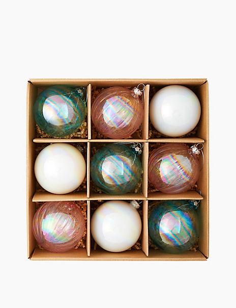 9 Pack Glass Nordic Wonder Baubles
