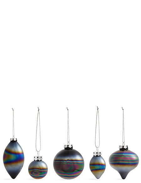 Set of 20 Luxury Monochrome Glass Baubles