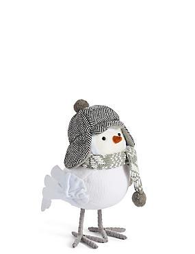 Large Grey Robin with Deerstalker Hat