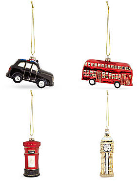 Set of 4 Luxury Glass London Icon Decorations