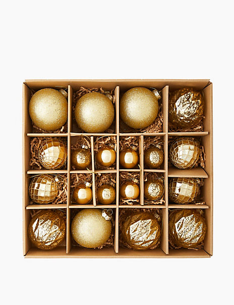 20 Pack Gold Mix Glass Baubles