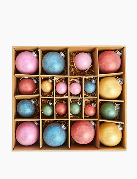 20 Pack Bright Glass Baubles