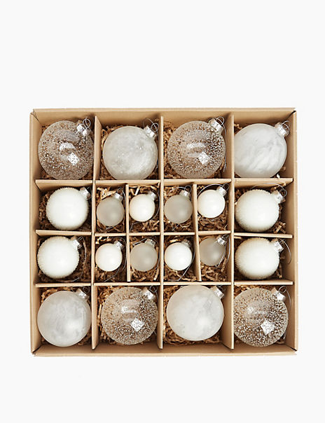 20 Pack White Mix Glass Baubles