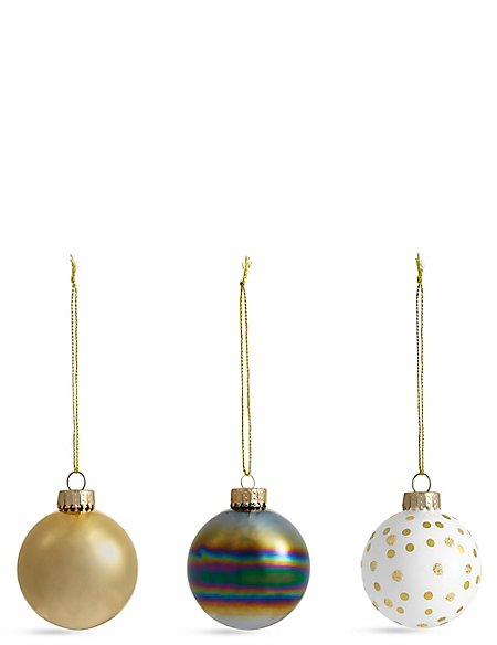 Set of 12 Luxury Glass Monochrome Baubles
