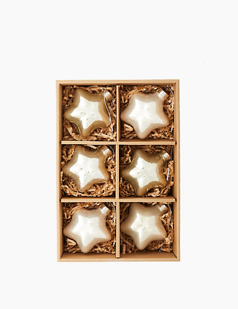 6 Pack Glass Metallic Star Decorations