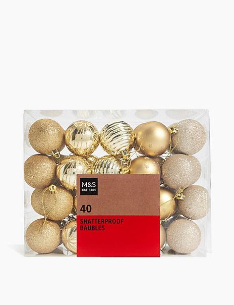 40 Pack Gold Mix Shatterproof Baubles