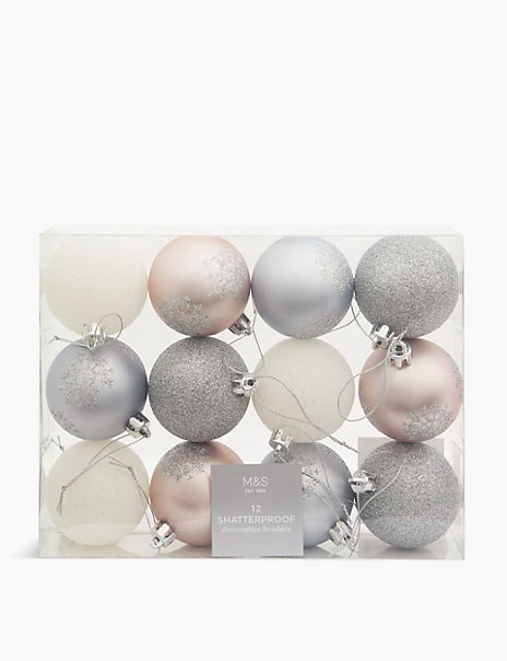 12 Pack Silver Mix Shatterproof Baubles
