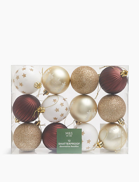 12 Pack Luxury Shatterproof Baubles