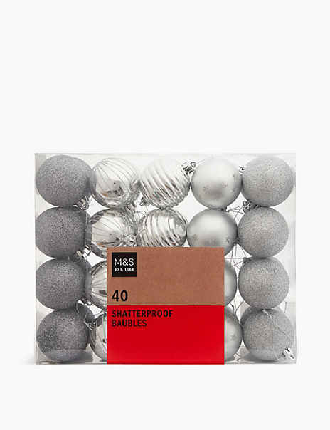 40 Pack Silver Mix Shatterproof Baubles