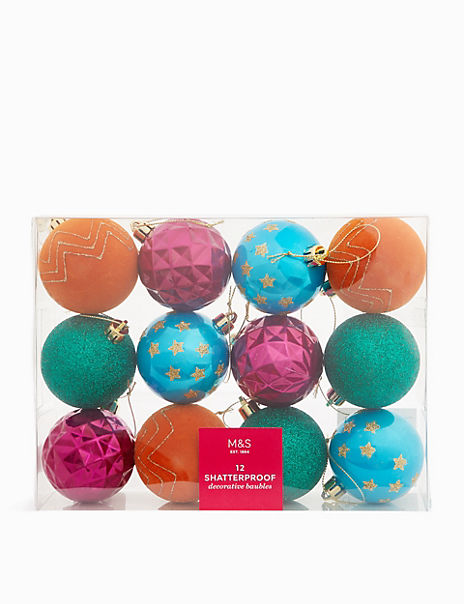12 Pack Bright Shatterproof Baubles