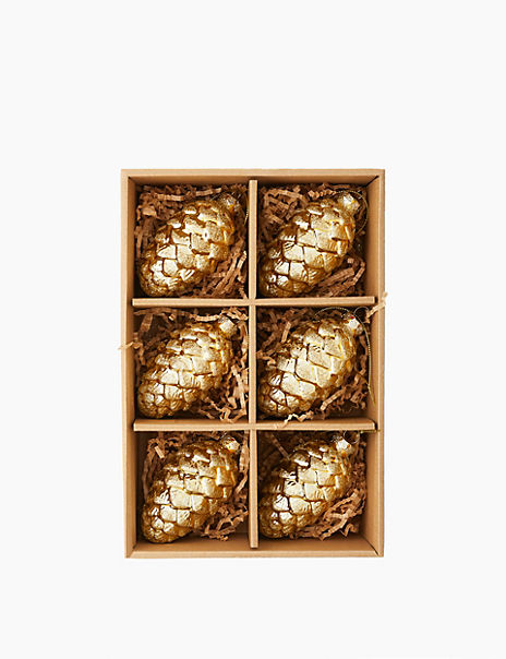 6 Pack Pinecone Tree Decorations