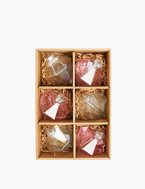 6 Pack Nordic Geometric Glass Decorations