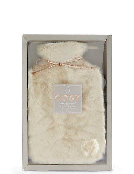 Cream Faux Fur Hot Water Bottle