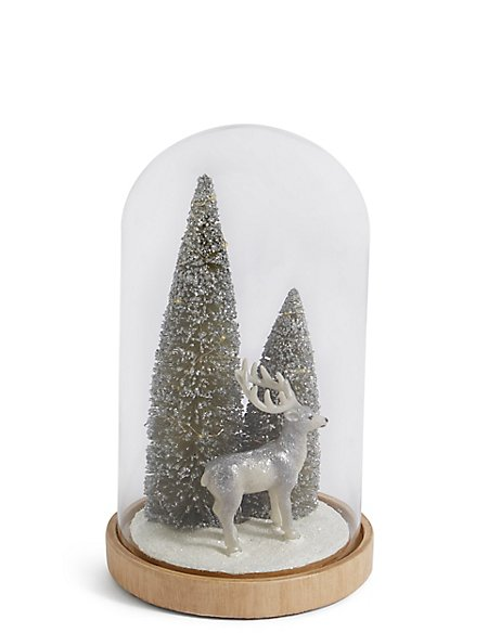 Silver Reindeer in Large Light up Cloche