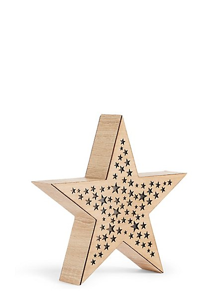 Light Up Wooden Star Ms