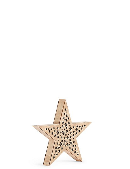 Small Light up Wooden Star