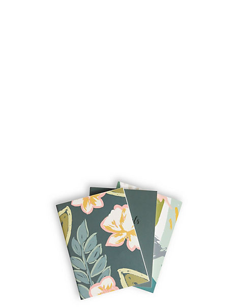 Set of 3 A6 Floral Print Notebooks