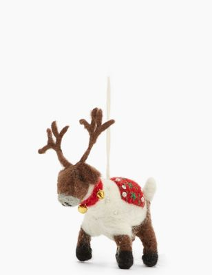 Handmade Felt Reindeer Tree Decoration by Marks & Spencer