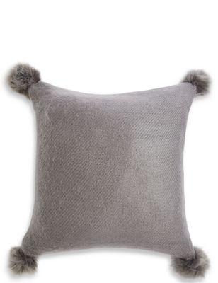 faux fur pom pom cushion m s