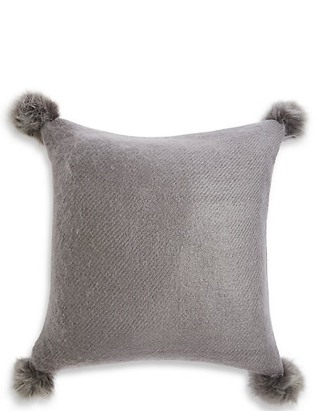 Faux Fur Pom Pom Cushion