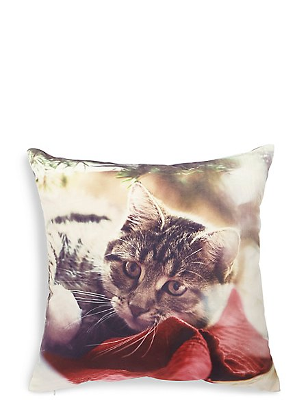 Christmas Cat Print Cushion
