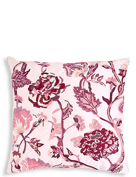 Faux Silk Floral Embroidered Cushion
