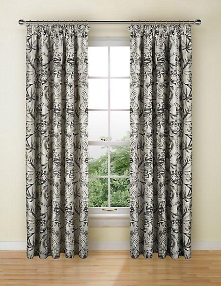 Botanical Jacquard Pencil Pleat Curtains