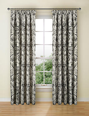 Botanical Jacquard Pencil Pleat Curtains