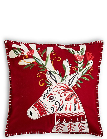 Reindeer Applique Cushion