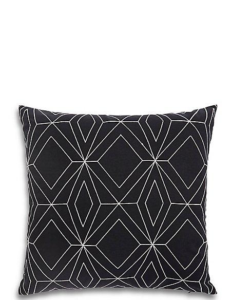 Stitched Geometric Print Cushion