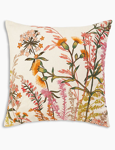 Wild Flower Embroidered Cushion