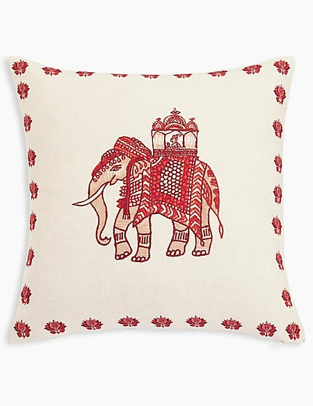 Elephant Embroidered Cushion