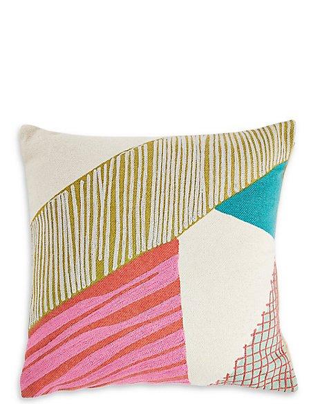 Abstract Crewel Work Cushion