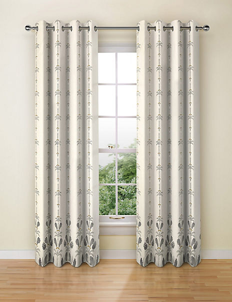 Decorated Palm Eyelet Curtains