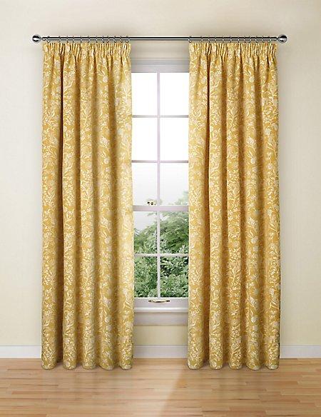 Floral Jacquard Pencil Pleat Curtain