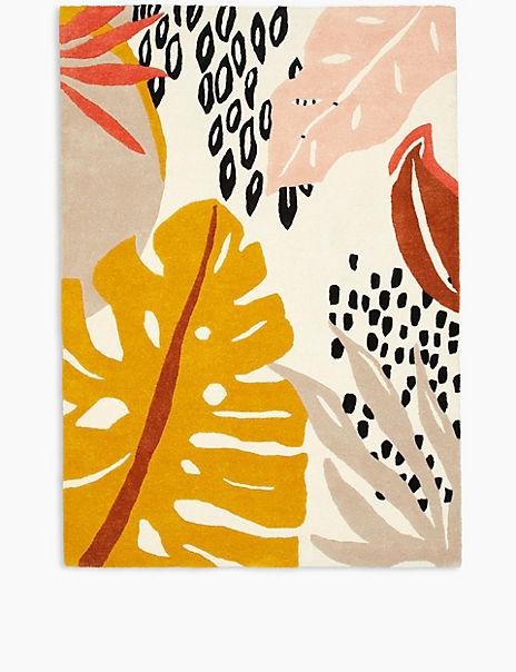 Abstract Leaf Carved Rug
