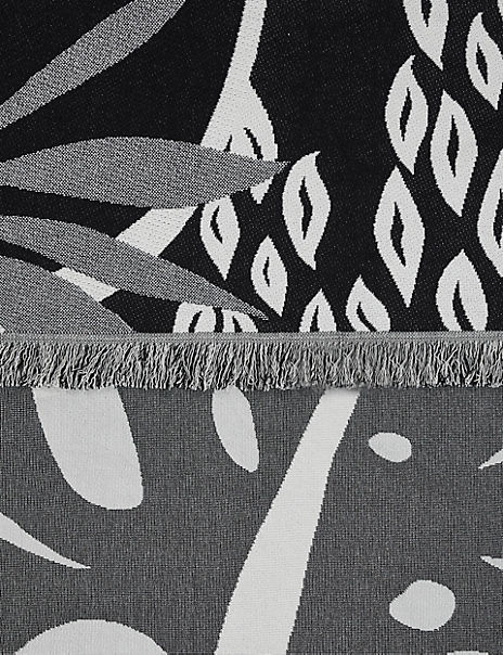 Abstract Leaf Fringe Throw